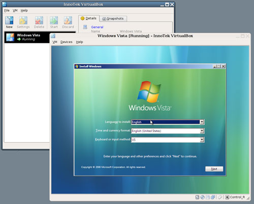 Vista chạy trong máy ảo trên Linux